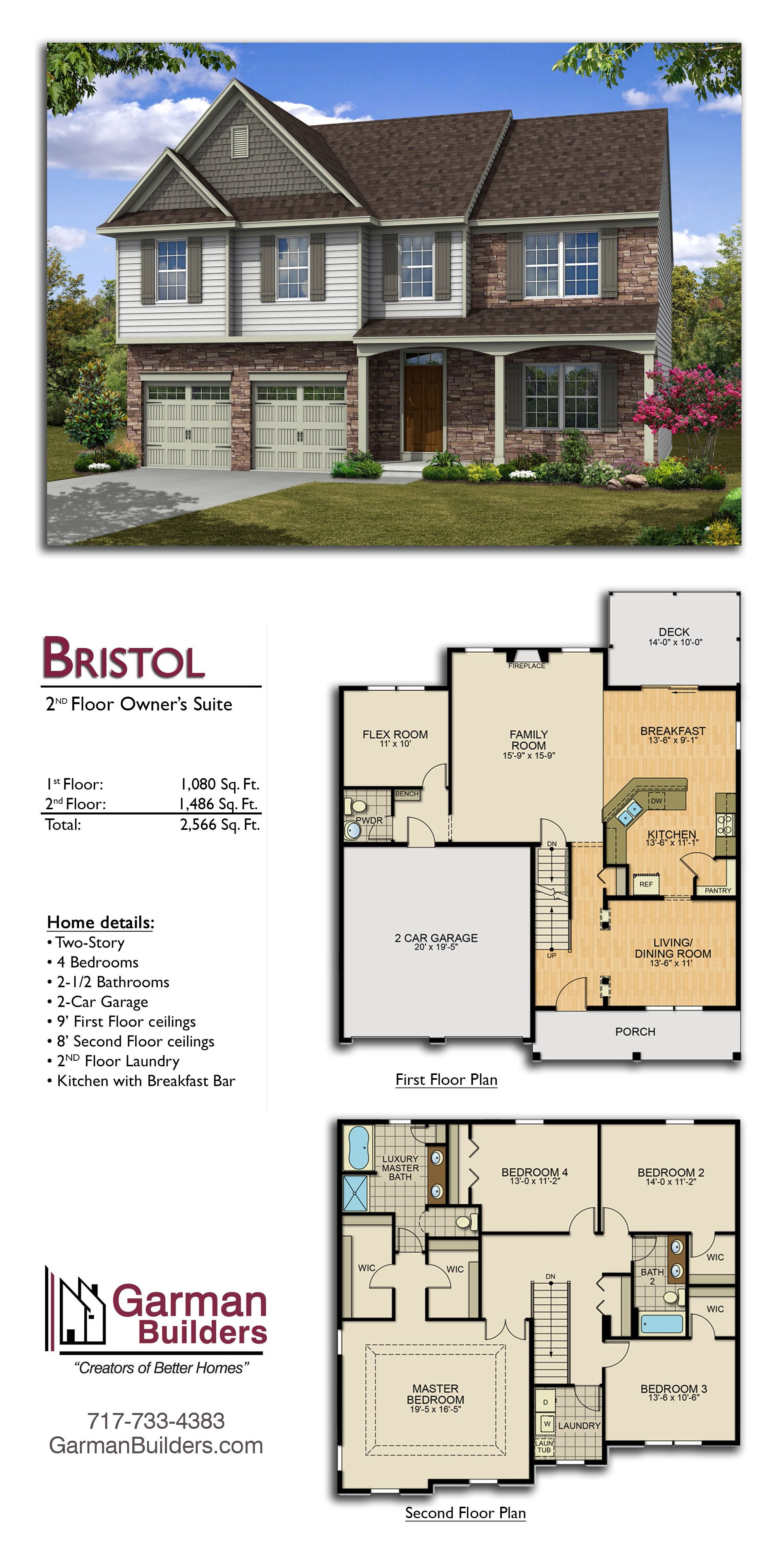 The Bristol Floor Plan By Garman Builders 4 Bdrms 2 5 Baths 2 Stories 2 Car Garage 2 566 Sq Ft Sims House Design Floor Plans House Blueprints