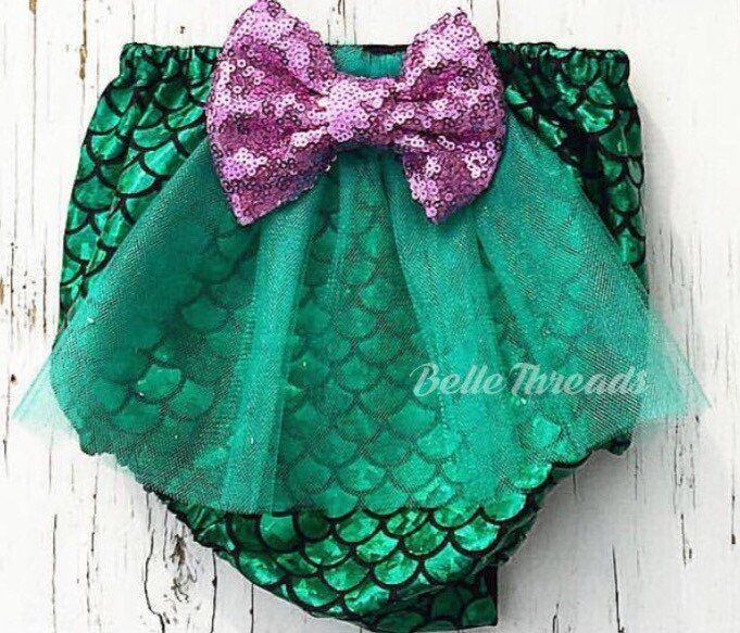 Emerald Mermaid Merbabe Tutu Bow Bottoms Bloomers #bellethreadspinterest