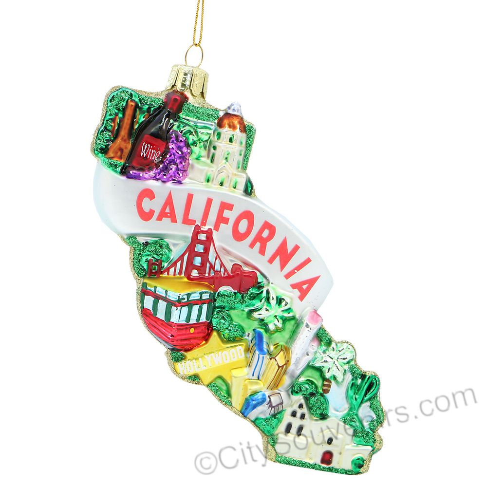 California Glass Ornament Christmas Ornaments From