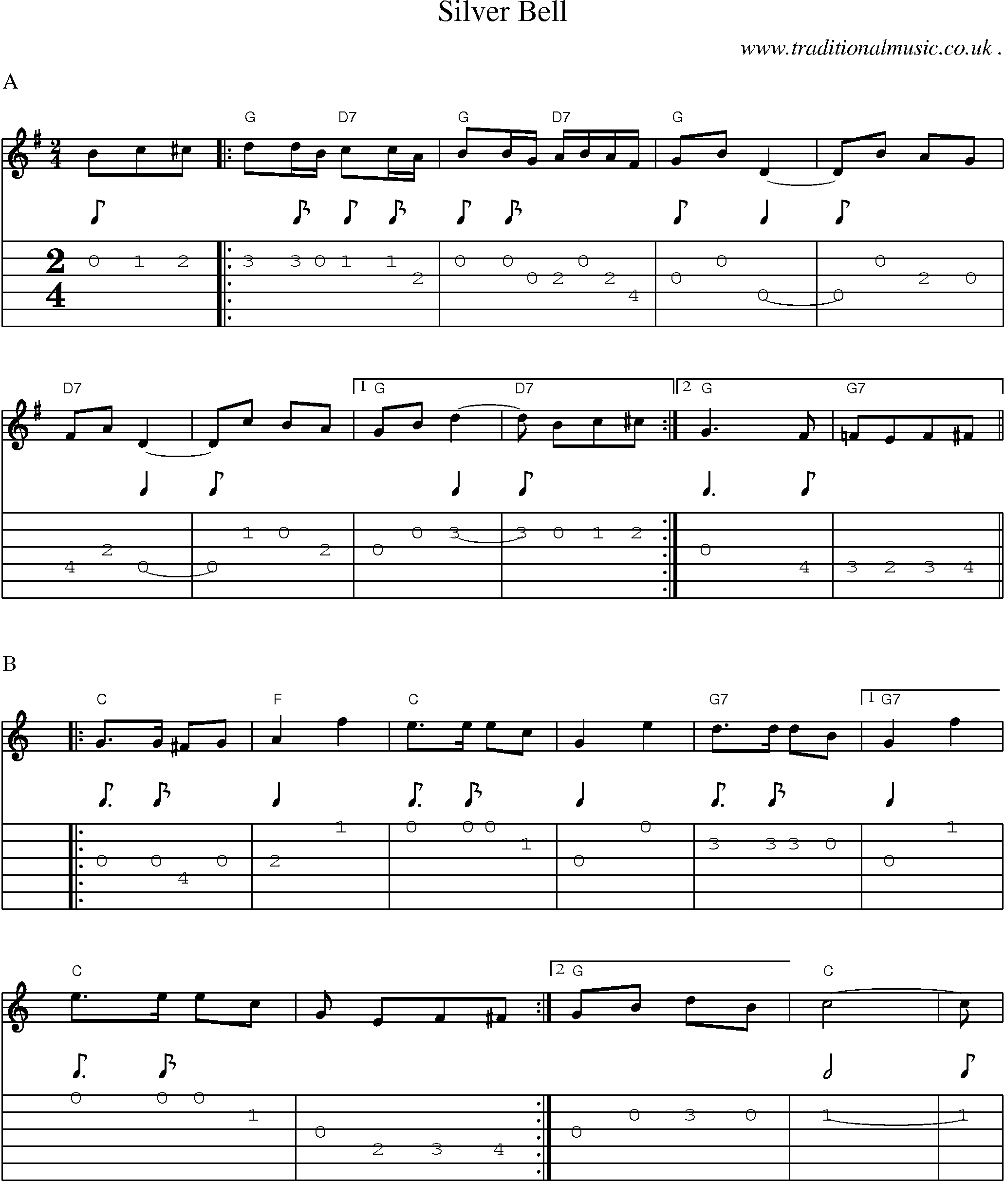 Music Score And Guitar Tabs For Silver Bell Sheet Music In 2018