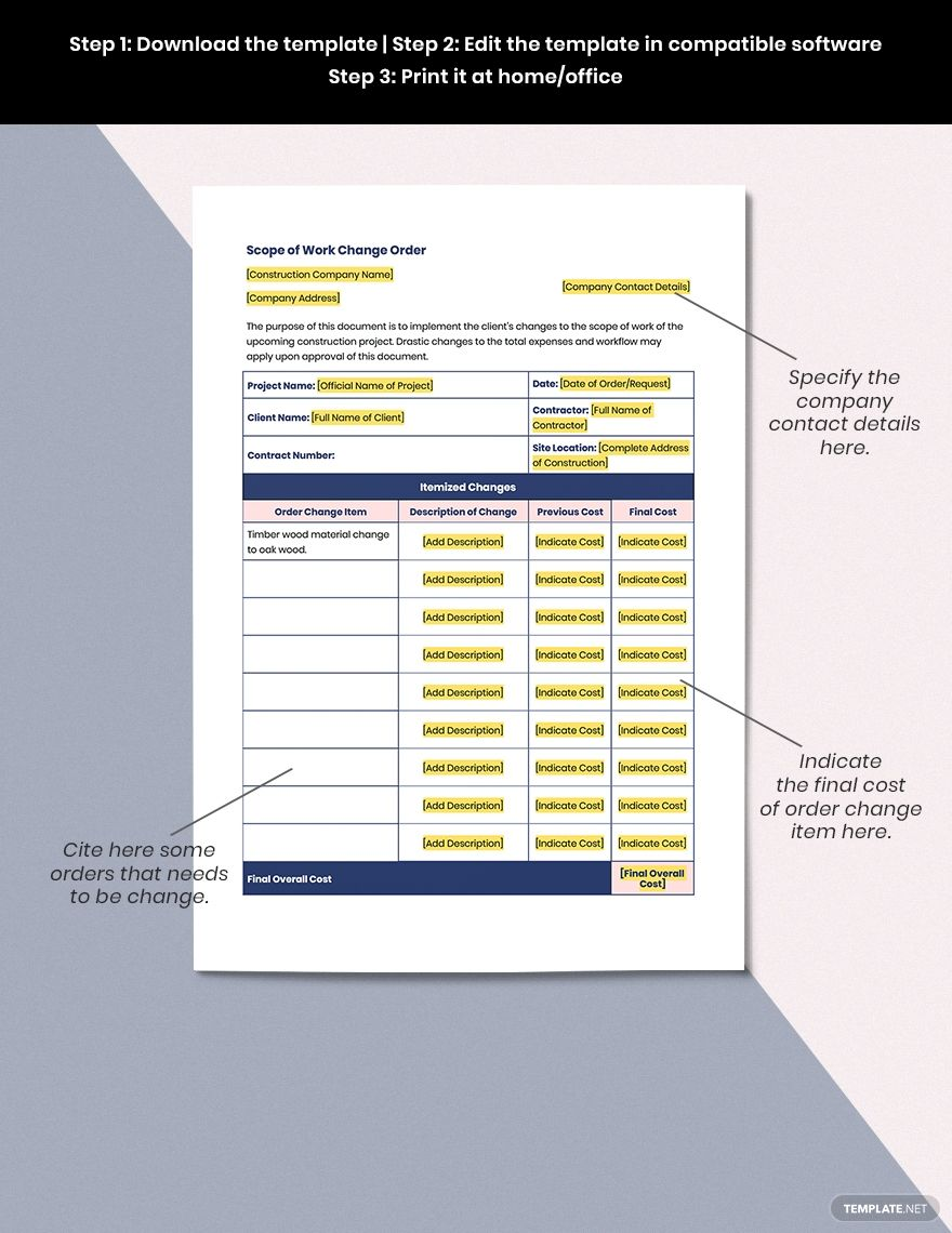 Free Construction Scope Of Work Change Order Template Google Docs Google Sheets Excel Word Apple Numbers Apple Pages Template Net Presentation Design Template Templates Template Google Scope of work template word