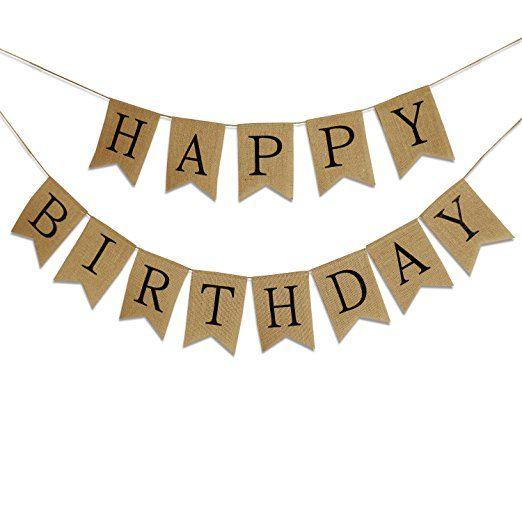 PsmGoods® Vintage Happy Birthday Jute Burlap Bunting