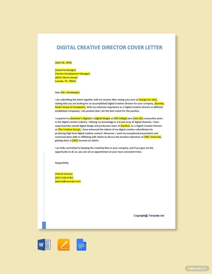 Digital Creative Director Cover Letter Template Free Pdf Google Docs Word Template Net Cover Letter Template Free Cover Letter Template Letter Templates