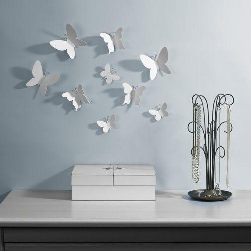 Umbra Wanddecoratie Vlinders Muurdecoratie Decoratieve Muren Metalen Wanddecor