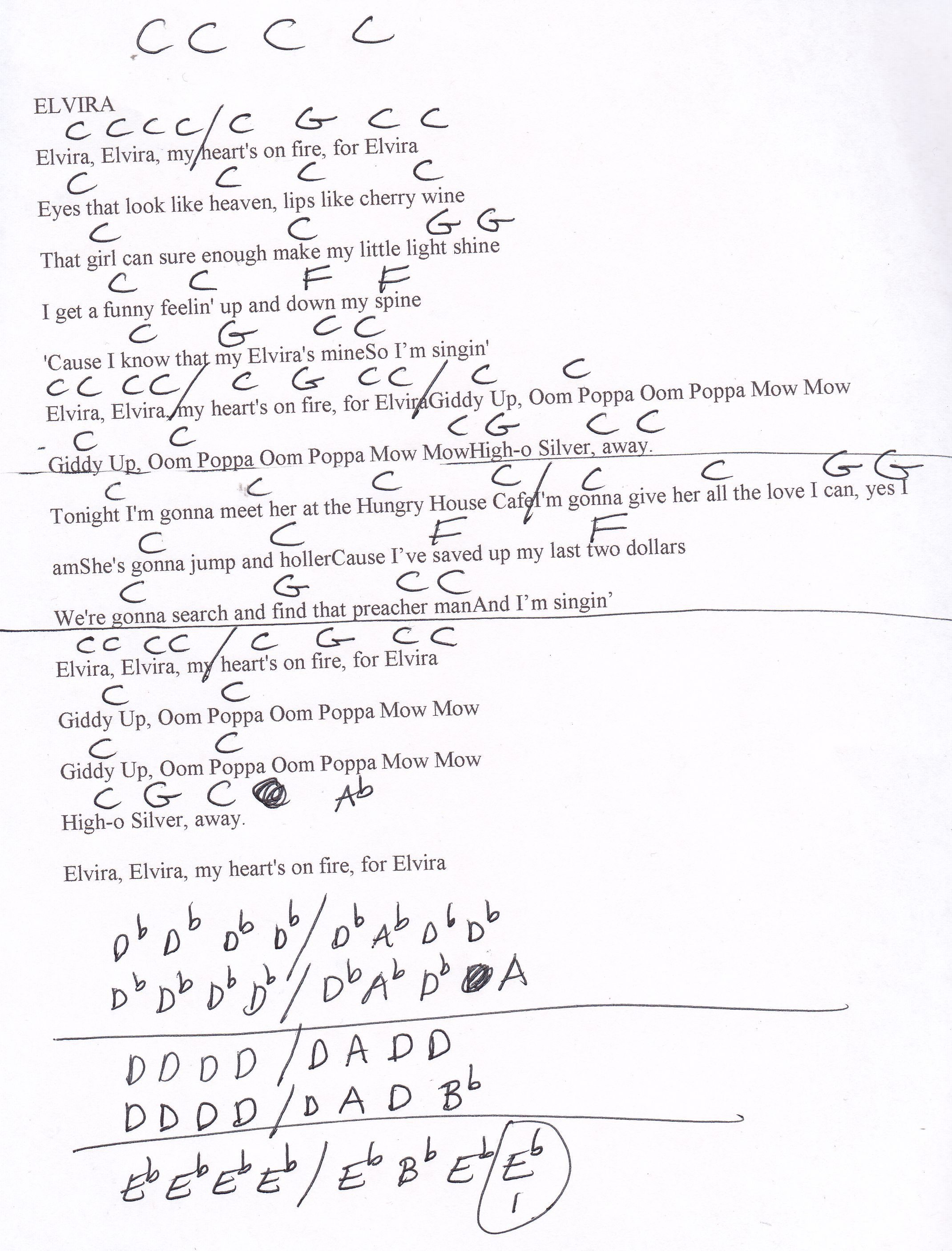 Elvira Oak Ridge Boys Guitar Chord Chart With Images Easy