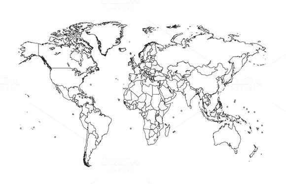 Blank World Map With Borders World map with borders black color | Blank world map, World map
