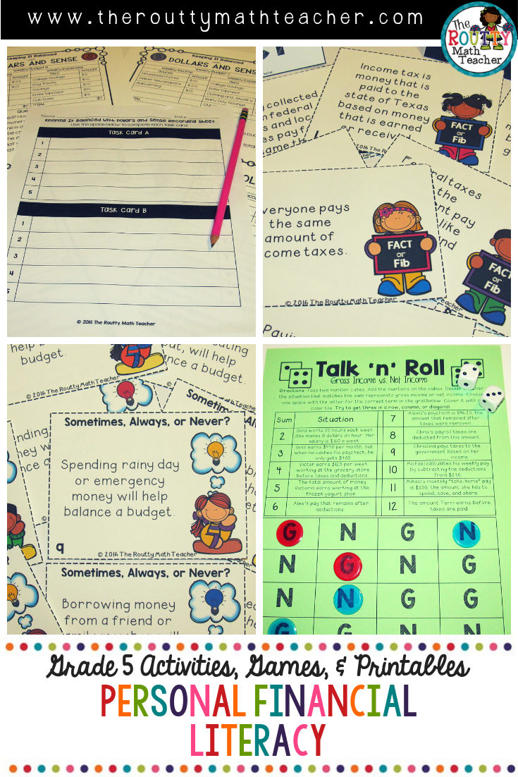 Personal Financial Literacy Teks Math Activities Printables Help Your 5th Grade Students Master The Personal Financial Literacy Math Teks Math Activities [ 1102 x 735 Pixel ]