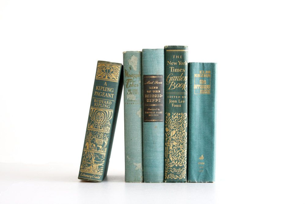 Antique Teal Book Collection - Vintage Spring Decor - Shabby Chic - Aqua Teal Green - Vintage Books - Mark Twain Kipling. $42.00, via Etsy.