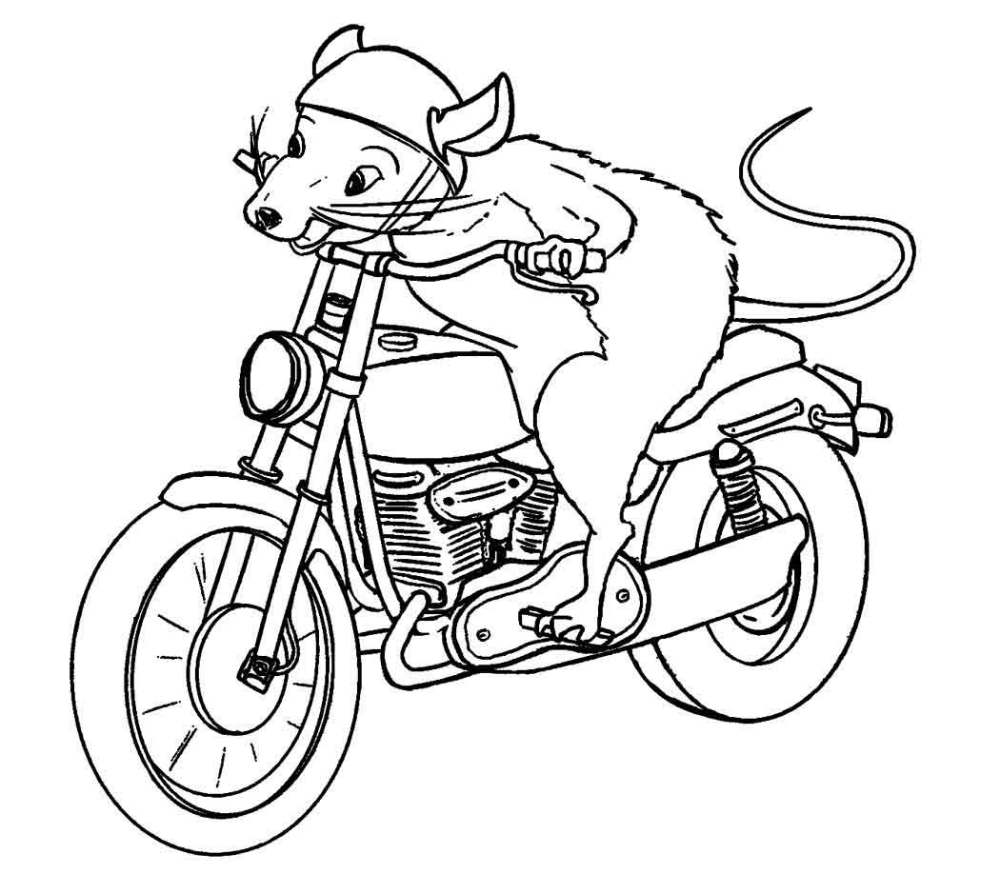 Mouse Riding Motorcycle Page Coloring Pages Coloring Pages For Kids Coloring Book Pages