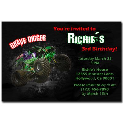 Pin by jenny herbert on monster trucks party pinterest monster invitations from the monster jam series featuring the grave digger monster truck filmwisefo Gallery