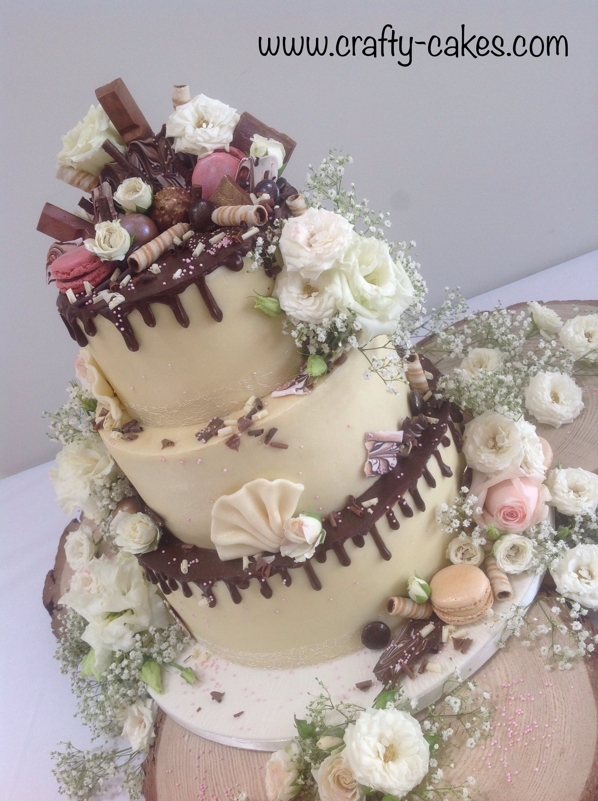 3 Tier Chocolate Drippy Wedding Cake