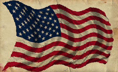 Patriotic Old Worn Waving American Flag Ragged Old Flag Stars Stripes Old Glory Red White Blue Blowing In The Wind Old American Flag Americana Decor American Flag