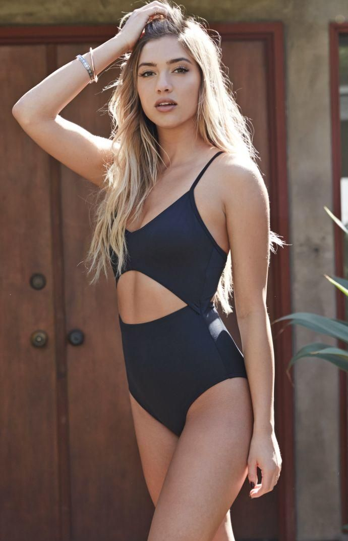a6f76e4a1ab LA Hearts Deep V Neck Cut Out One Piece Bathing Suit Swimsuit - Womens  Swimwear - Black from PacSun. Saved to Epic Wishlist.