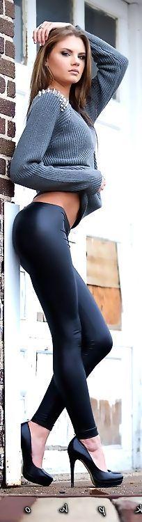 Brunette taking off jeans