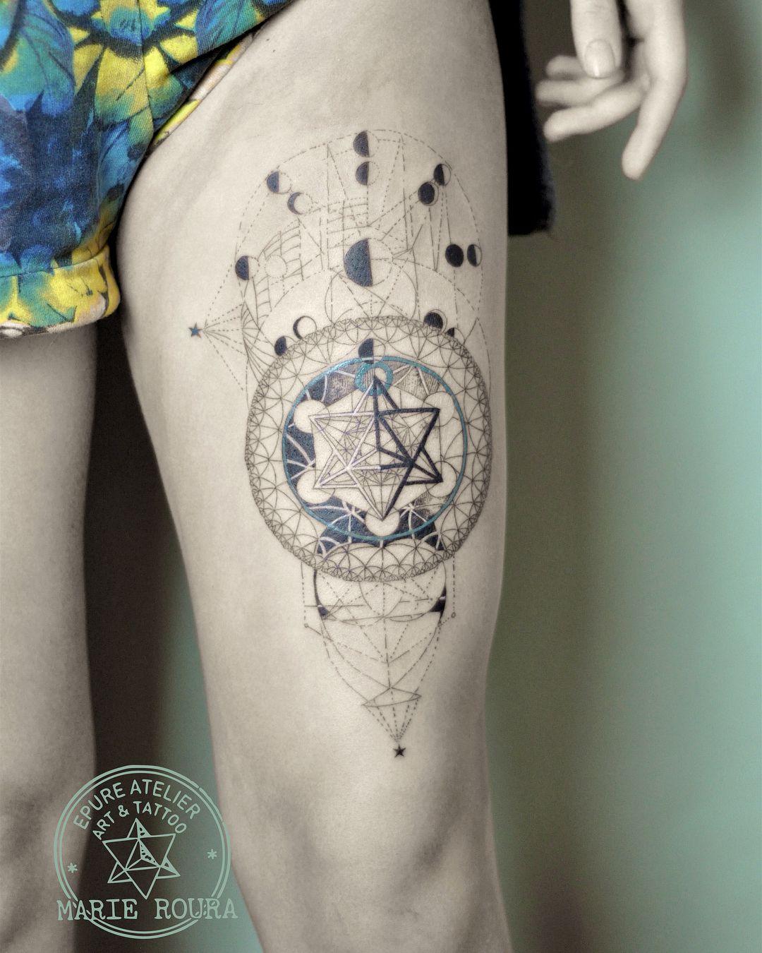 Sacred geometry #sacredgeometrytattoo #merkaba #moonphases