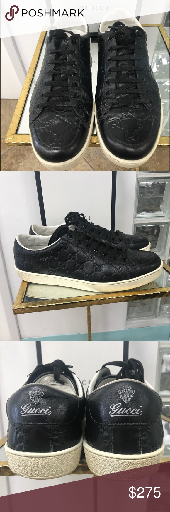 6437c1d6ba8 🔥Gucci Snickers 🔥 💯% Authentic Italian color black upper leather with GG  imprint