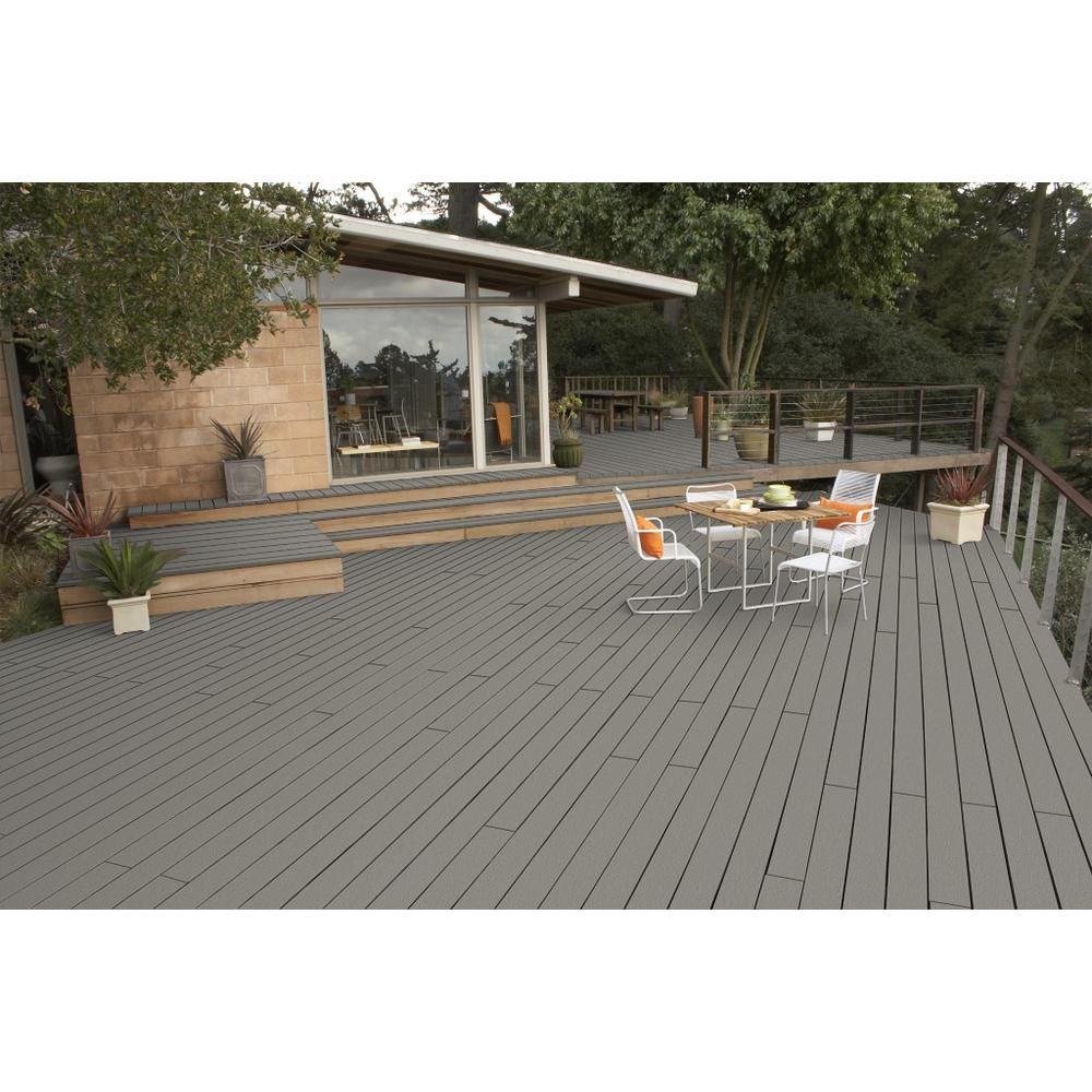 Behr Premium Deckover 1 Gal Sc 137 Drift Gray Solid Color Exterior Wood And Concrete Coating 500001 Exterior Wood Concrete Coatings Deck Paint