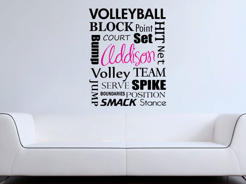 Volleyball Subway Art Monogram Wall Word Decal By GrabersGraphics - Vinyl volleyball wall decals