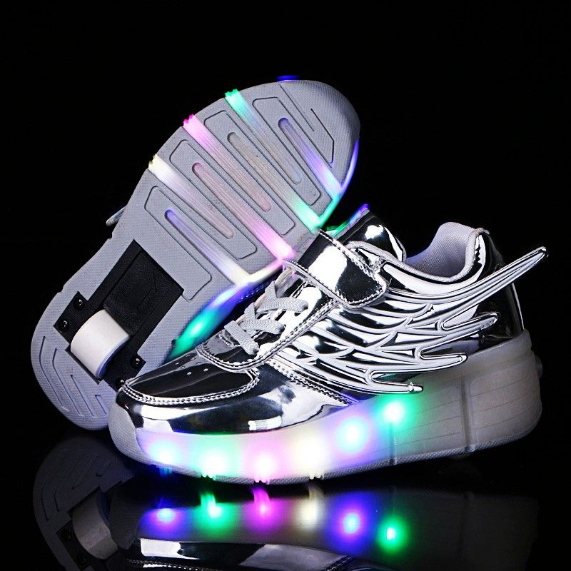 Glowing Luminous Sneakers For Children On Small Wheels Baskets With Light Sole Children Led Slippers For Boy Girl Light Up Roller Shoes Dance Boots Girls Shoes