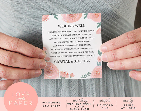 Wedding Invitation Wording For Monetary Gifts: Wishing Well Wedding Card Template 3.5x4 Word Document