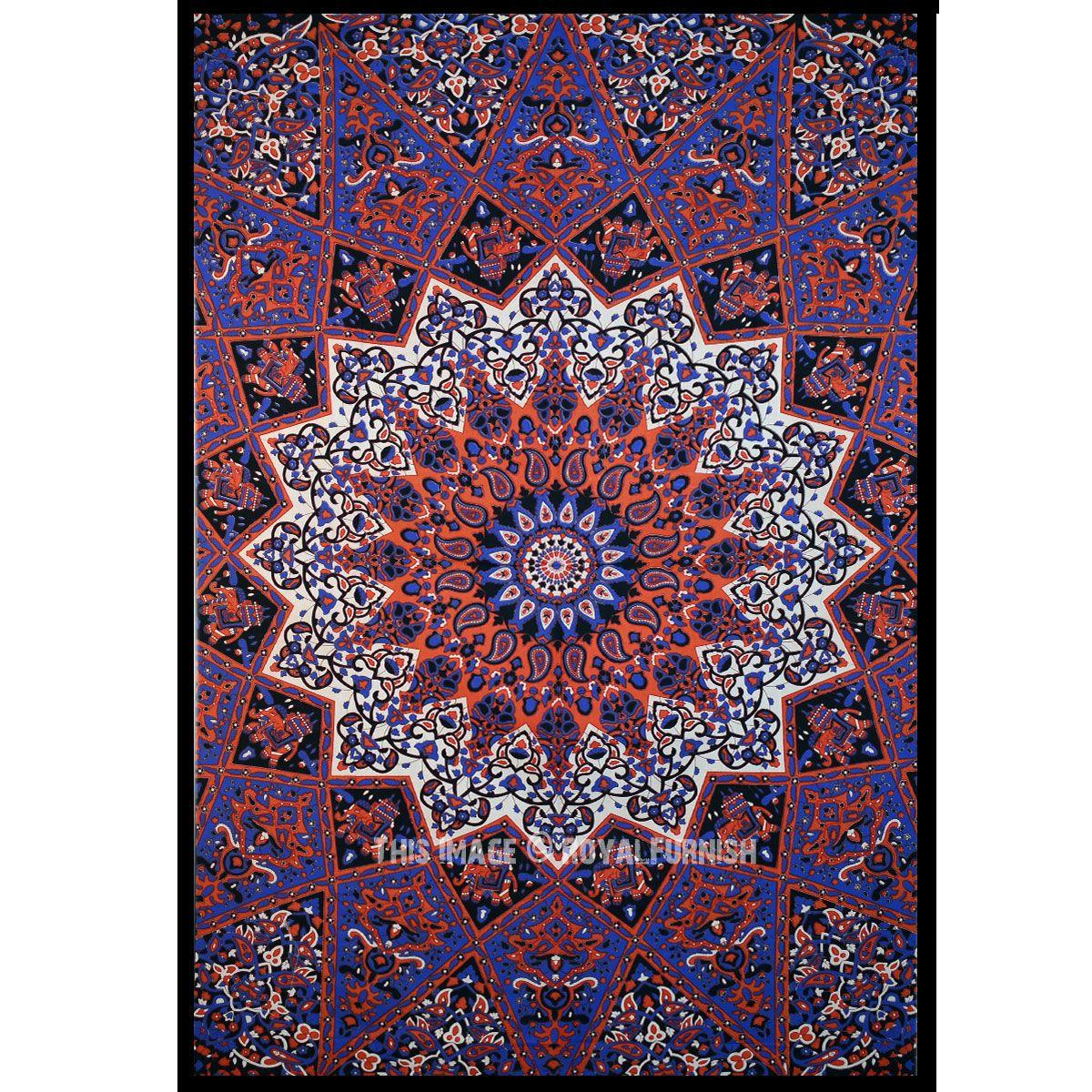 Blue multi elephants sun ombre mandala wall tapestry royalfurnish - Tapestry Plum And Bow Medallion Star Elephant Mandala Wall