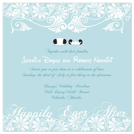 Disney Blue and white wedding invitation Mickey and Mini Disney