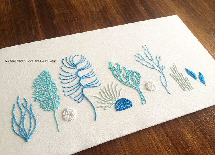 Wild Coral Hand Embroidery Pattern Modern Embroidery Nature Ocean
