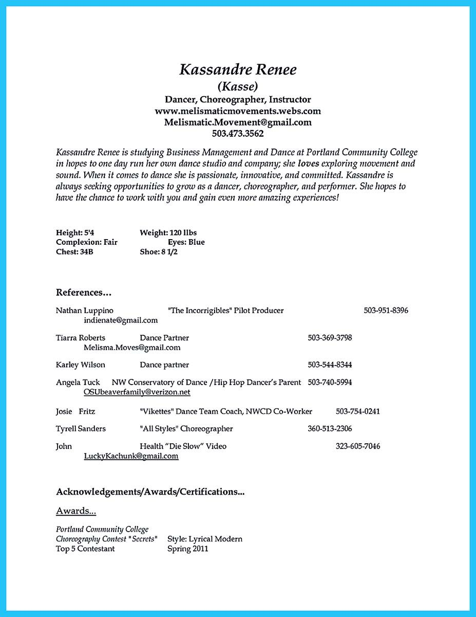 Dance Resume Examples There Are Two Types Of Biotech Resumeone Is The Academic Resume
