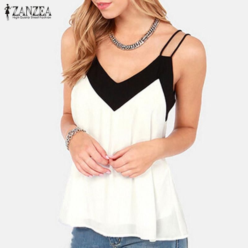 94eb771799 Gender  Women Brand Name  ZANZEA Pattern Type  Solid Collar  V-Neck Fabric  Type  Chiffon Material  Polyester Decoration  None Model Number  women tank  tops ...