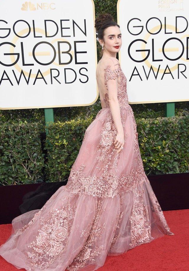 Lily Collins usa vestido digno de princesa no Golden Globes   Lily ...