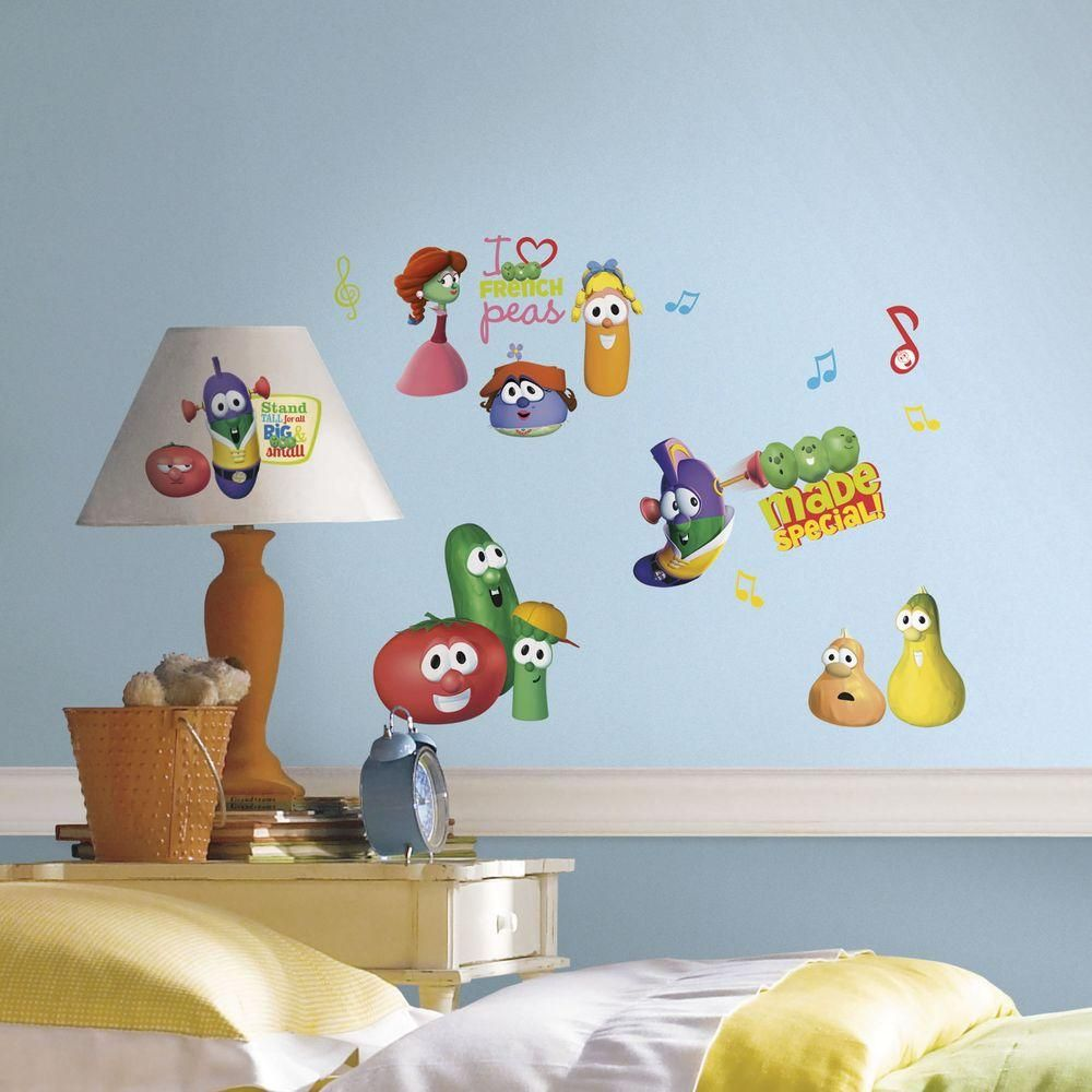 11.5 in. Multi Color Veggie Tales Peel and Stick Wall Decals