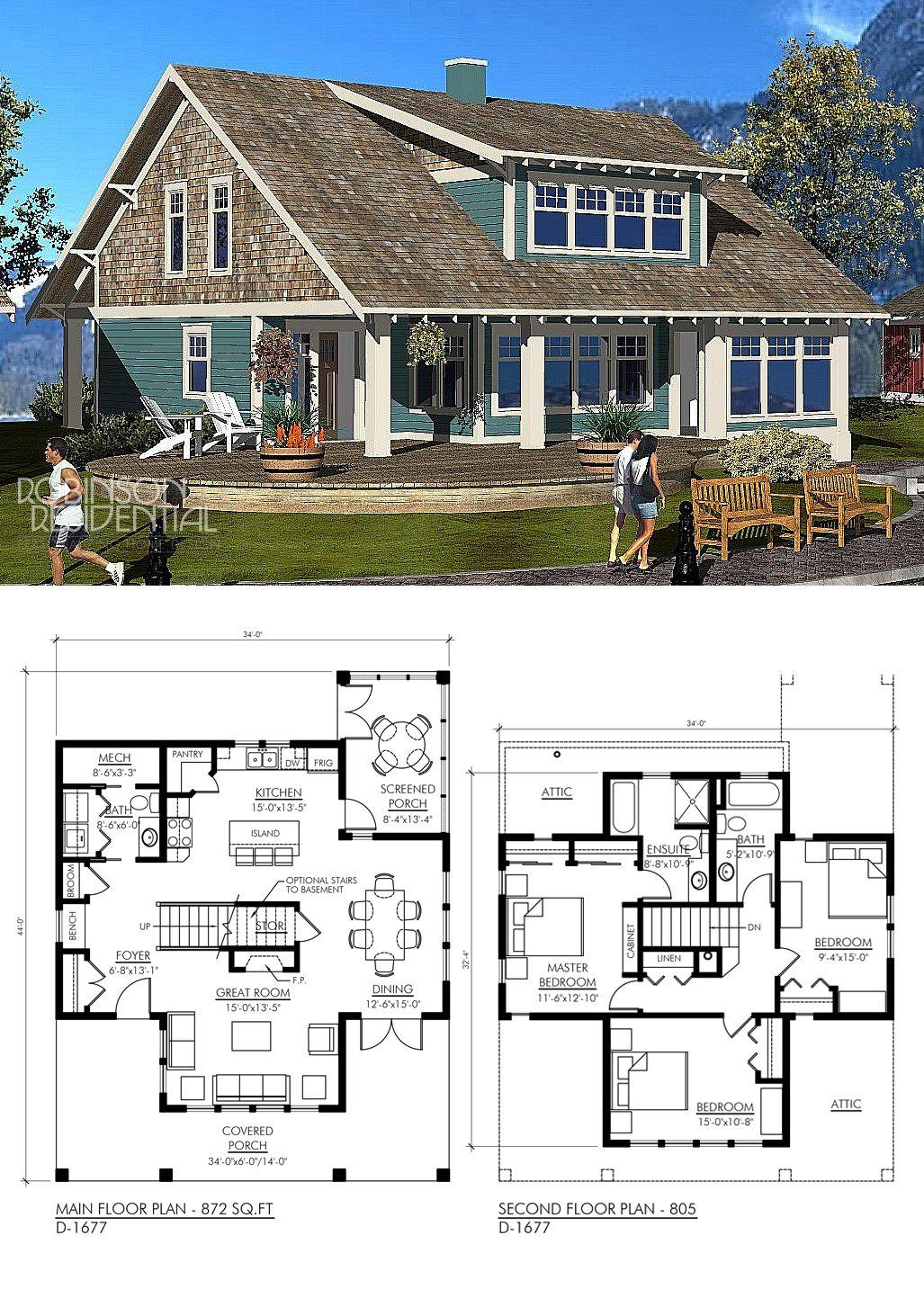 Craftsman D 20   Robinson Plans   Lake house plans, Cottage ...