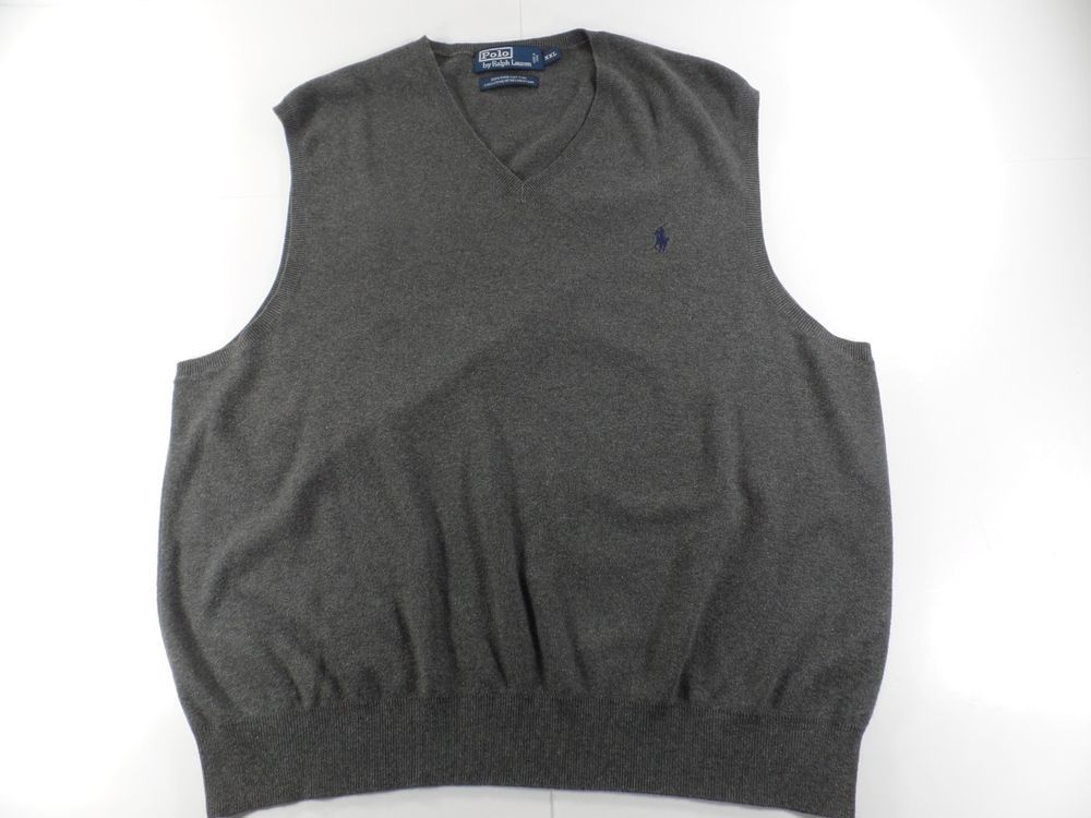 Polo Ralph Lauren XXL Mens V Neck Sweater Vest Size 2XL Gray Blue ...