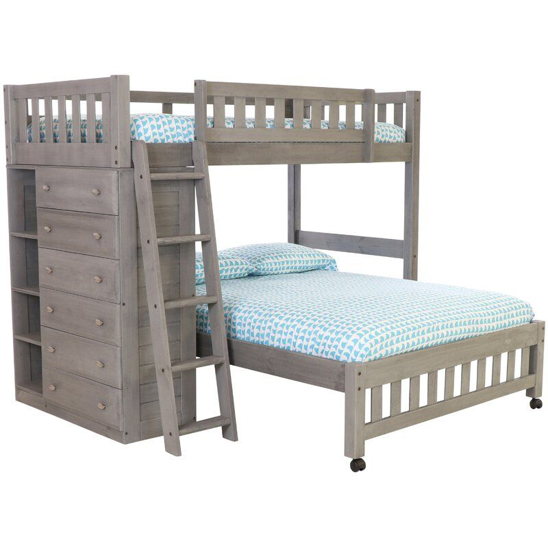 Harriet Bee Aranza Twin Over Full L Shaped Bunk Beds With Drawers Reviews Wayfair Bunk Bed With Trundle Bunk Bed Designs Bunk Beds