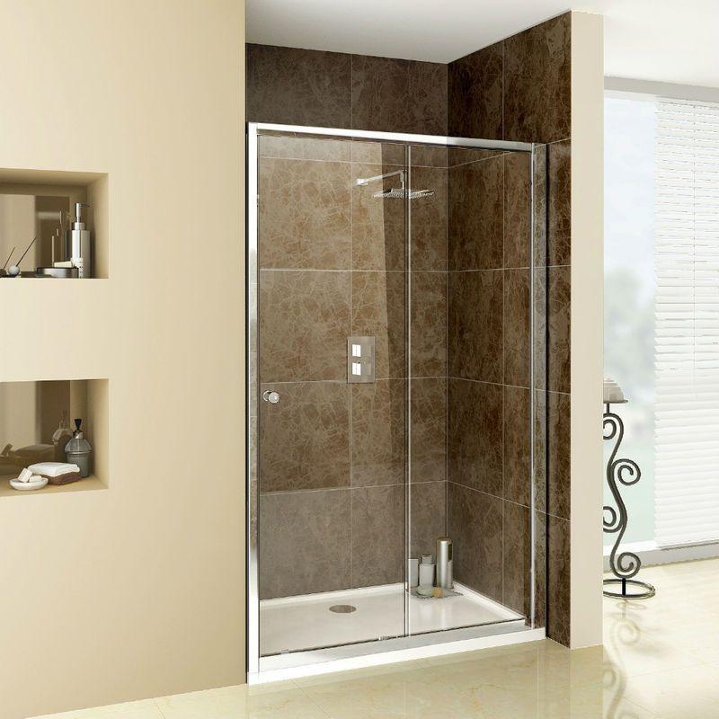 Walk In 1200mm Sliding Shower Enclosure Glass Screen Door Bathroom ...