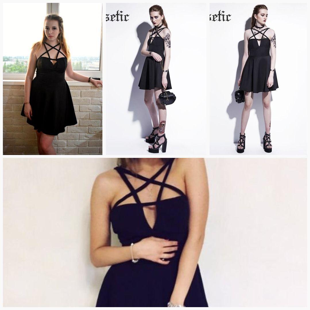 4cc63bab09e Rosetic Gothic Mini Dress Black Pentagram Summer Women Goth Dress Sexy  Fashion A-Line Street Preppy Vampire Gothics Mini Dresses  trendyfall  chic   boho ...
