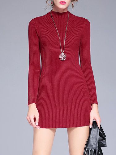 Ribbed Sheath Stand Collar Casual Plain Sweater Dress
