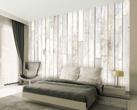 Madera blanqueado mural de papel pintado mural de papel pintado en pintura y - Murales de madera ...