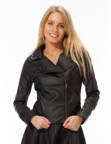 Zipper Closure Black Dona Michi Womens Basic Jacket Genuine Leather