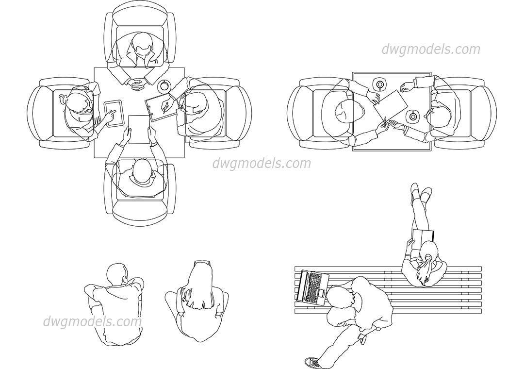 People Sitting View Top Cad Blocks Free Dwg File The