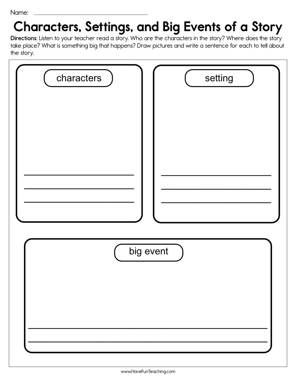 Characters Settings And Big Events Worksheet Character Worksheets Kindergarten Worksheets Story Elements Worksheet