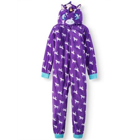 063c4a0d5 Komar Kids Girls  Hooded Unicorn Velour Fleece Blanket Sleeper ...