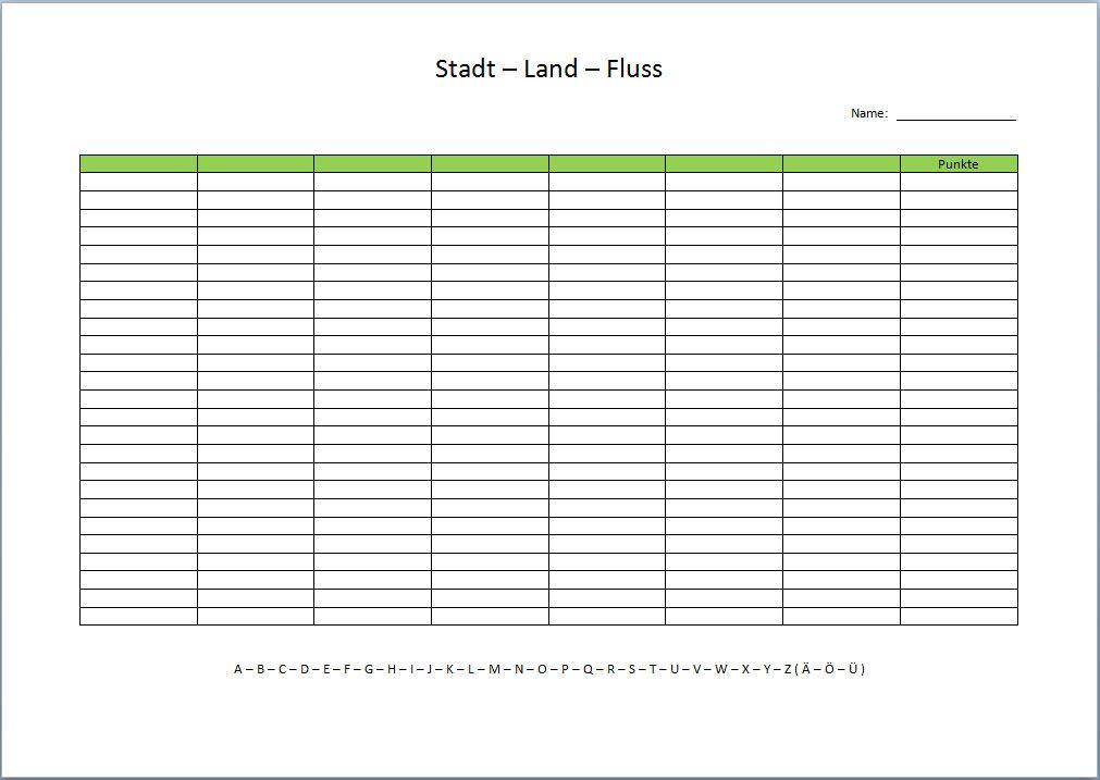 Stadt Land Fluss Tabelle