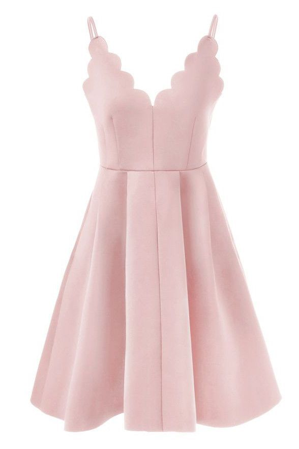 Simple Pink Satin Spaghetti Straps Cheap Short Homecoming Dresses ...
