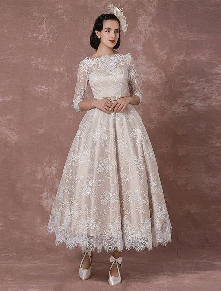 c975ebb1c0a Lace Wedding Dress Vintage Bateau Champagne Half Sleeves Bridal Gown A-line  Backless Tea-length Sash Reception Bridal Dress