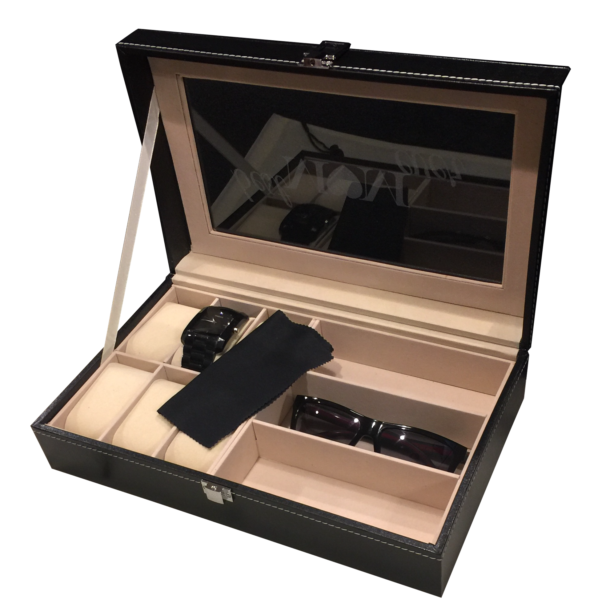 Watch and Sunglass Display Case Engraved Personalized Watch Box