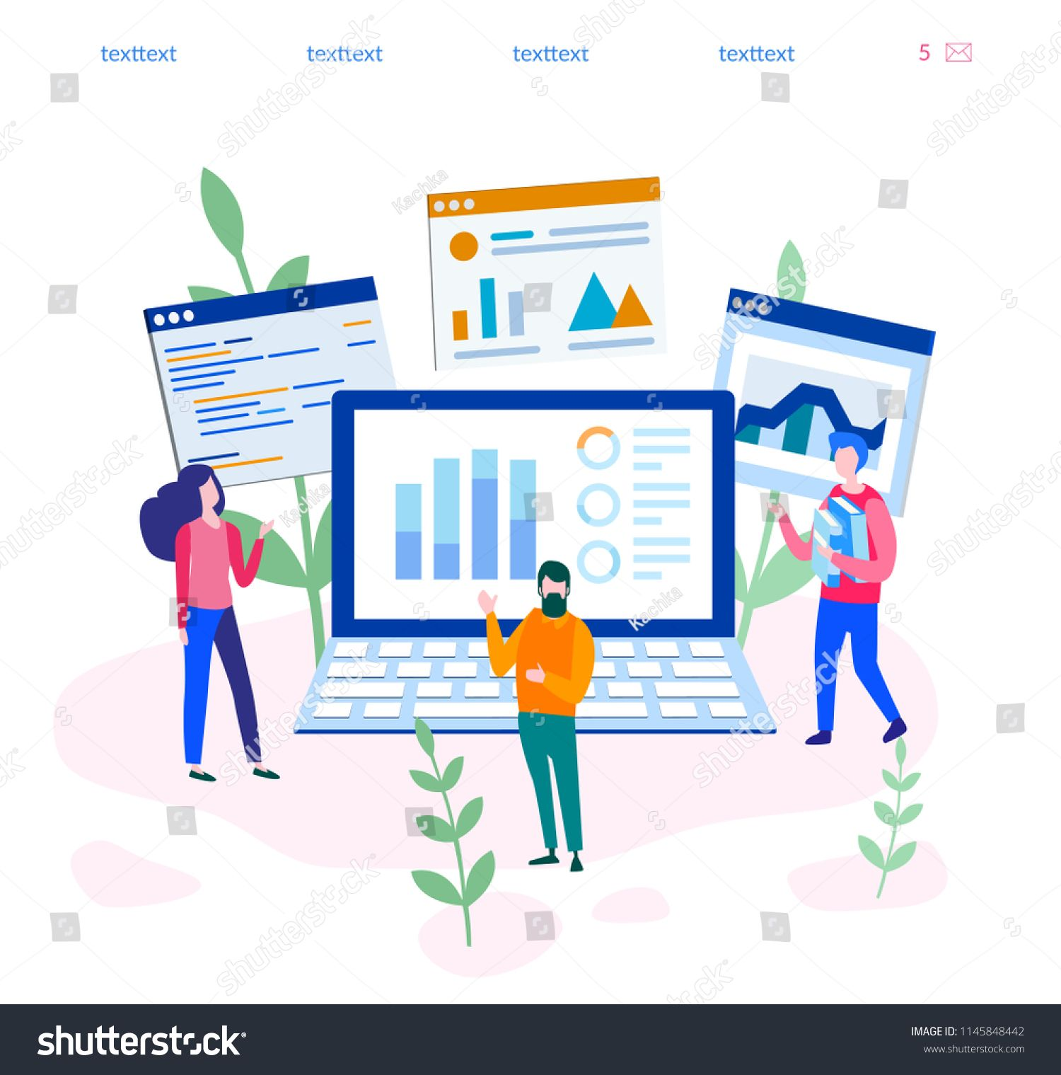 Concept Digital Marketing Teamwork Website Coding Seo For Web