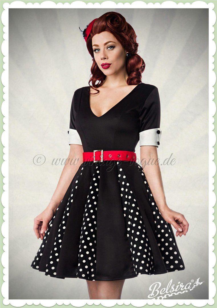 420a3ac45650be Belsira 50er Jahre Retro Petticoat Punkte Kleid - Godet - Schwarz Weiß