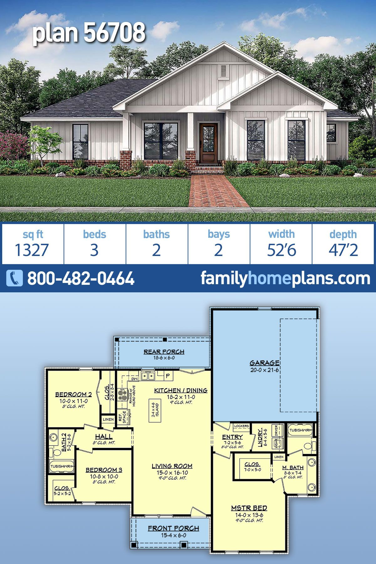 NEW Small Farmhouse Plan is Friendly to the Construction Budget Family Home Plan #56708