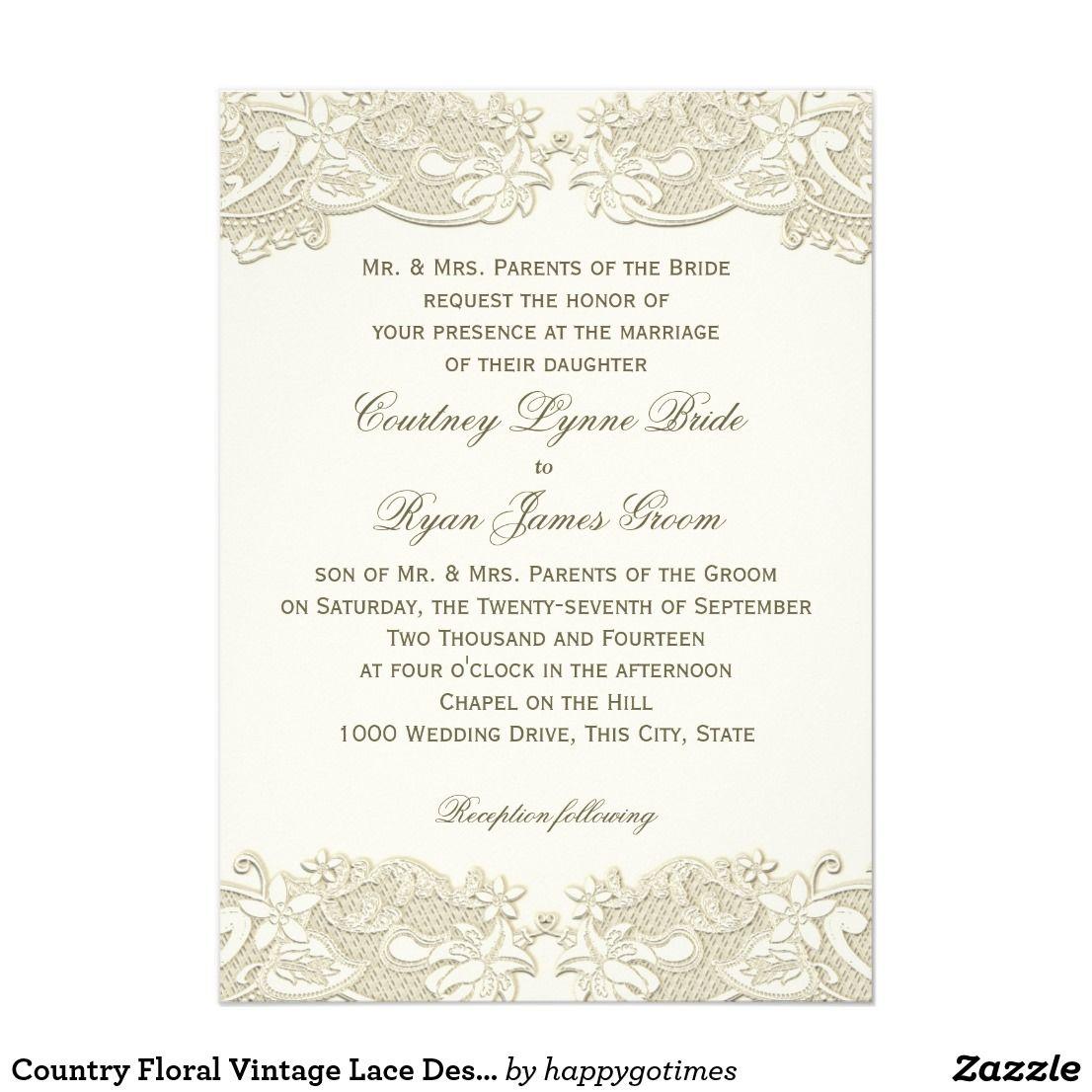 Country Floral Vintage Lace Design Wedding Card | Lace design ...